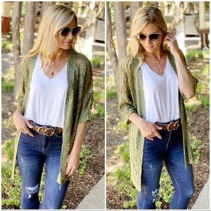 Infinity Raine Sweaters - ✨LAST ONE ✨Olive open knit kimono